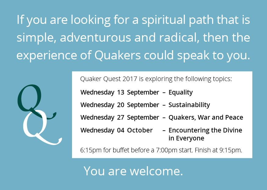 Quaker Quest 2017 – Wednesdays from 13 Sep to 4 Oct
